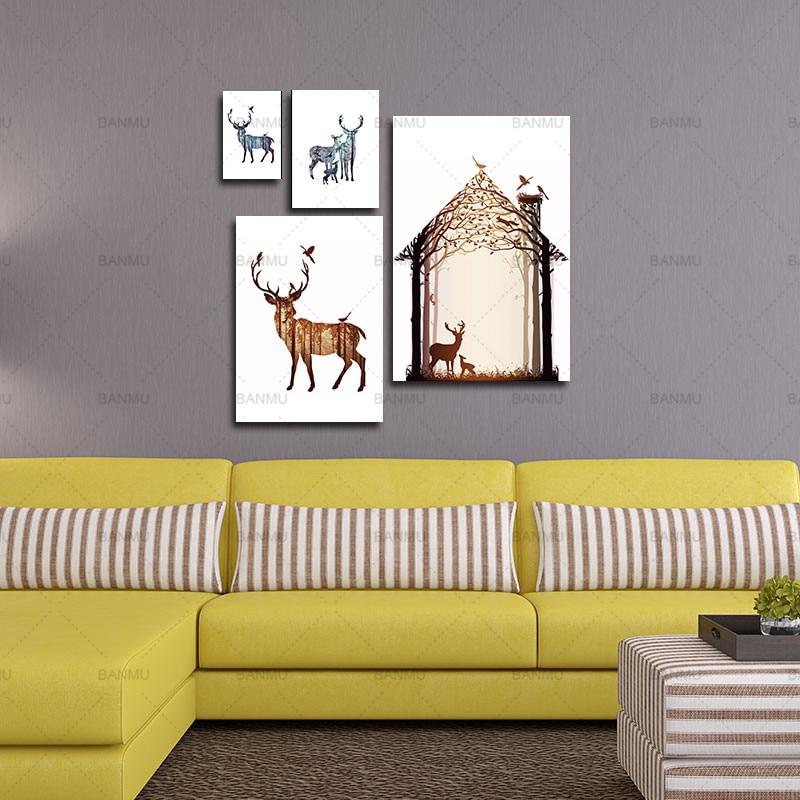 Çam meşəsi kətanları ilə maral ailəsinin silueti, - Ev dekoru - Fotoqrafiya 5
