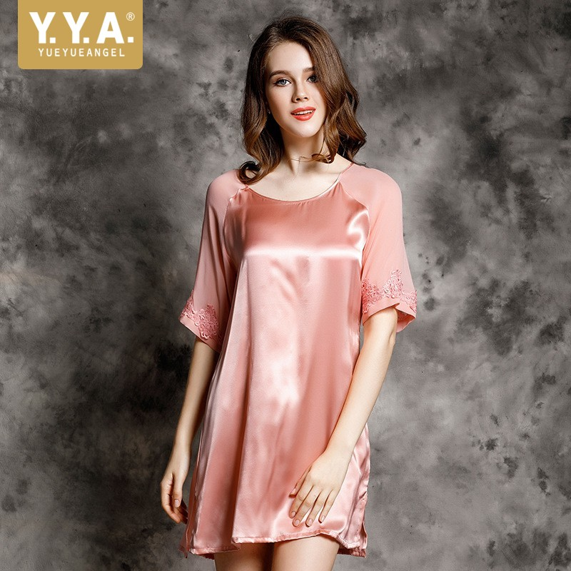 Italian 2019 New Floral Embroidery Sleeve Women Sexy Real Silk Nightgown Sleepshirts Comfort Ladies Homewear Nightdress Pyjamas