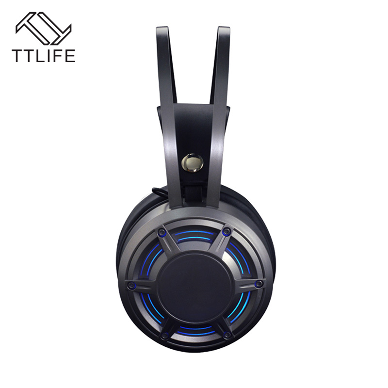 TTLIFE Wired Gaming Big Headset Stereo Surrounded Deep Bass LED Light Headphone with Microphone for Laptop Computer LOL Game  original fashion computer game headphone wired gaming headset super bass stereo earphone with led light microphone for lol ps4