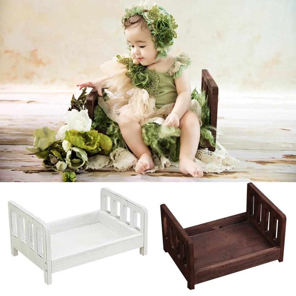 Newborn Photography Props Mori Retro Old Wooden Cot Accessoire Bebe Shooting Photo Small Wooden Bed For Studio Bebe Photographie