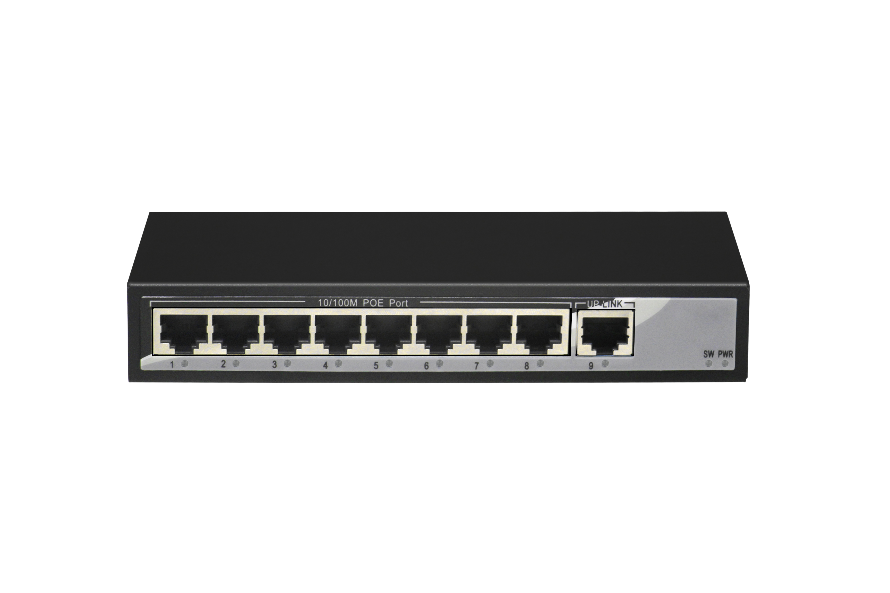 9-port 10/100M switch, of which 1-8 ports support POE, IEEE 802.3af international standard, external total power 104W