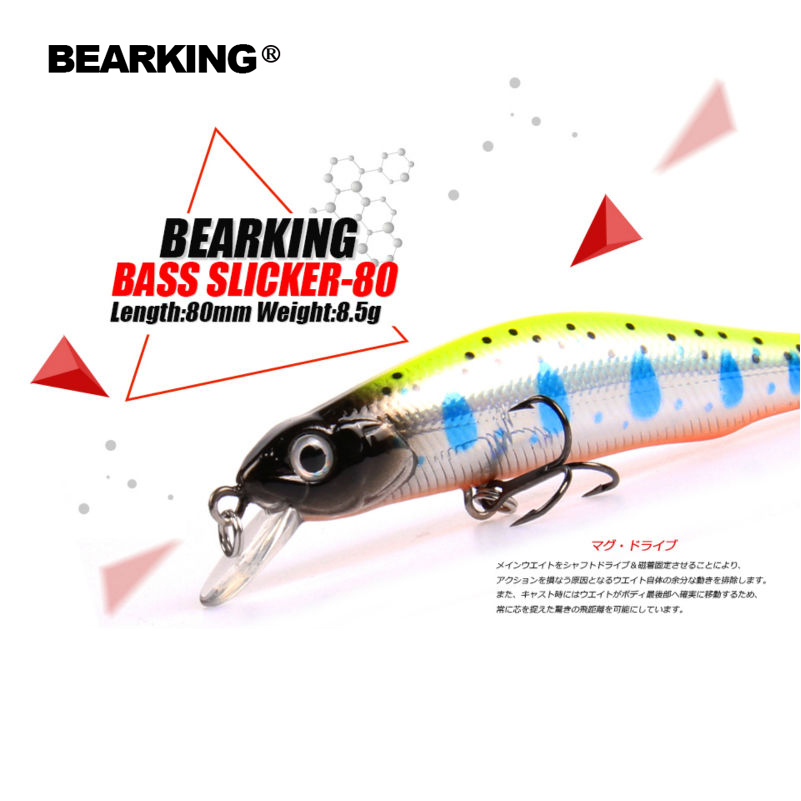 Retail A+ fishing lures, assorted colors, minnow crank  80mm 8.5g,magnet system. bearking 2016 hot model crank bait(China)