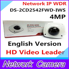 English Version Mini Dome Wireless IP Network Camera DS-2CD2542FWD-IWS Full HD 4MP Built-in Mic Audio Input WDR Support