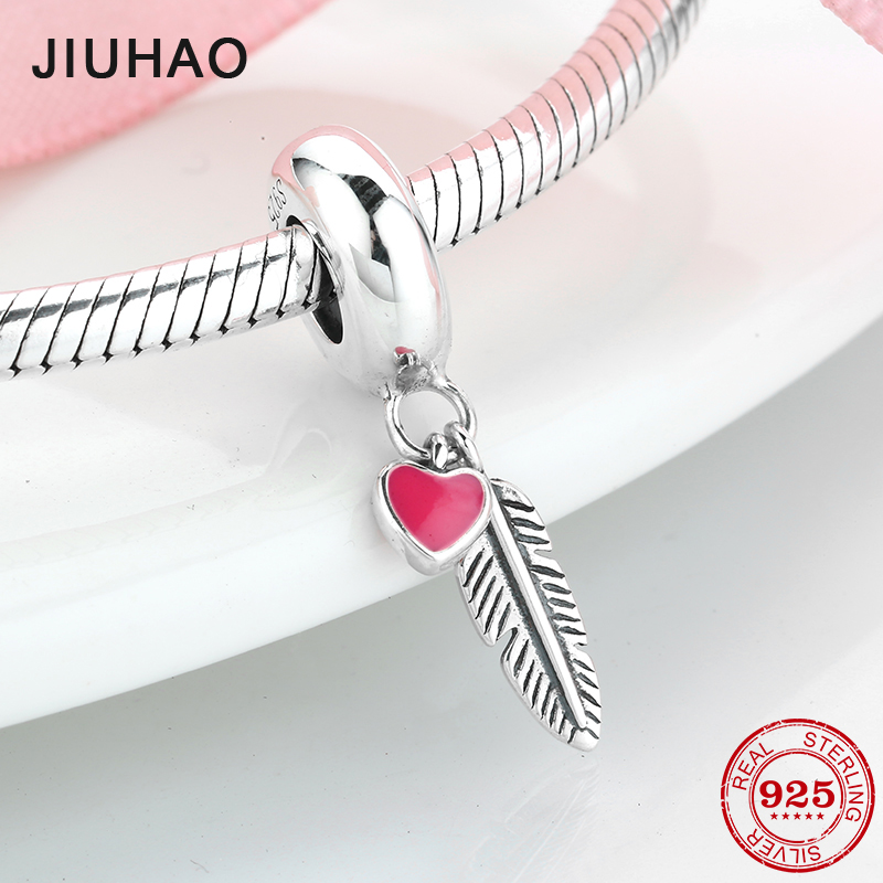 Spiritual Feather Pendant Charm 925 Sterling Silver Clip Stopper Charm for Women Charm Bracelet