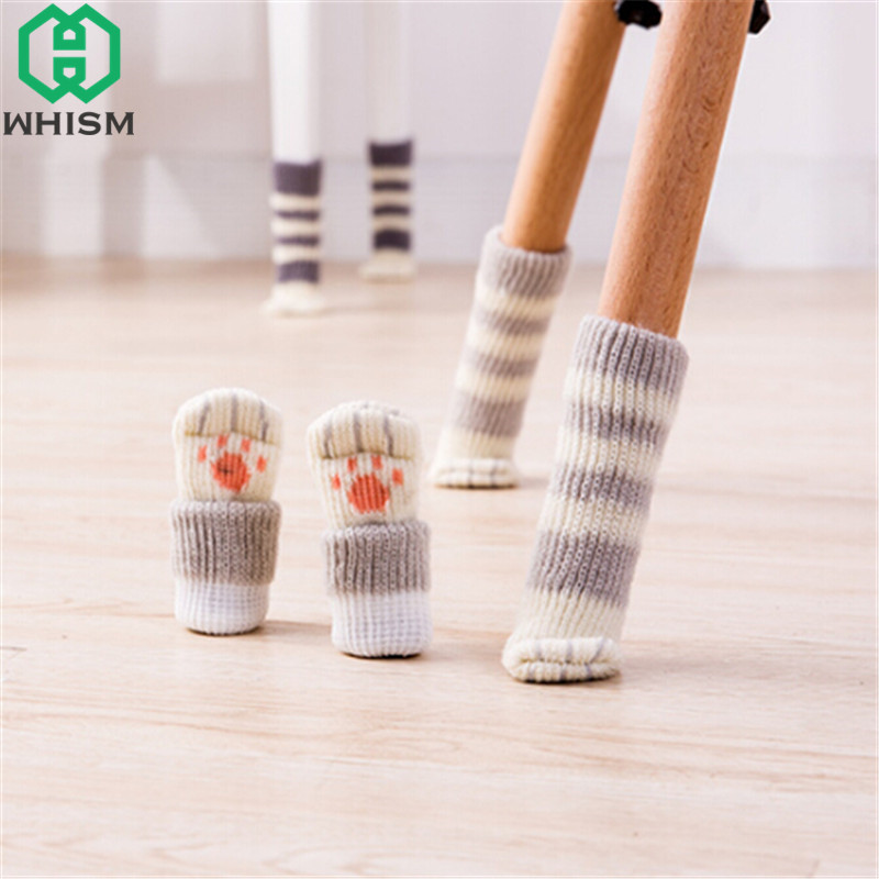 4pcs/lot Cat Style Chair Feet Knitting Chair Socks Furniture Feet Table Leg Sleeve Non-slip Table Legs Knit Floor Protectors