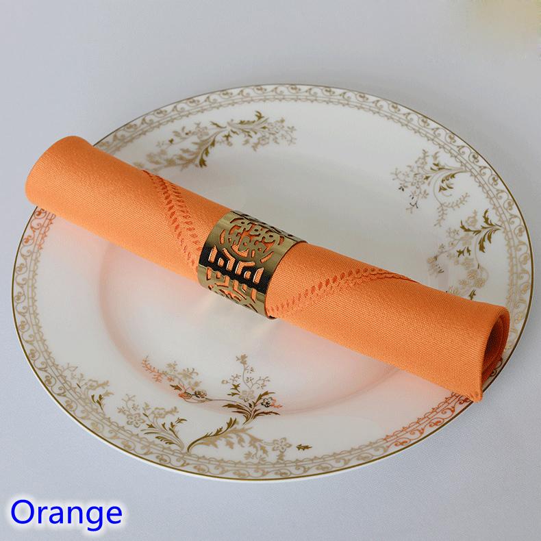 Orange colour Table napkin plain polyester napkin for wedding hotel and restaurant table decoration wrinkle stain resistant