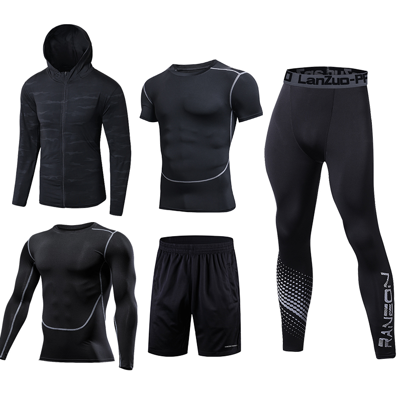 New Running Set Men Sport Suits Soccer Basketball Compression Underwear Running Sets Sport Suits Dress Gym Jogging Fitness Suits