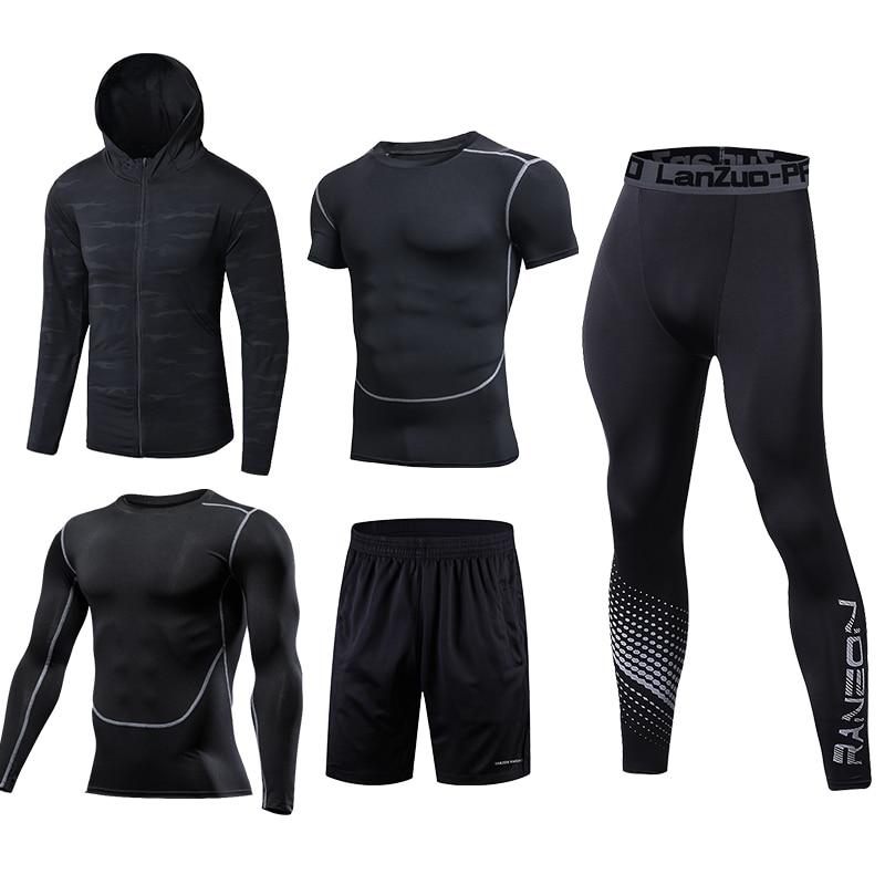 New Running Set Men Sport Suits Soccer Basketball Compression Underwear Running Sets Sport Suits Dress Gym Jogging Fitness Suits