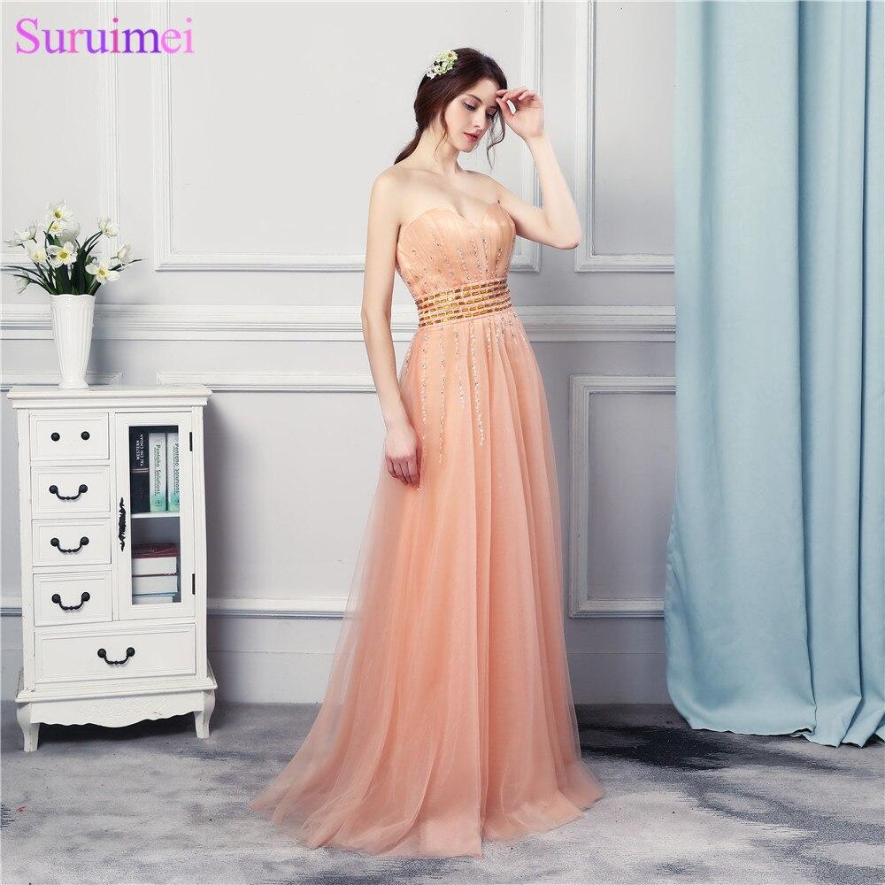 Robes de bal fille perlée longue longueur de plancher doux Tulle pêche Orange chérie conception formelle robe de bal