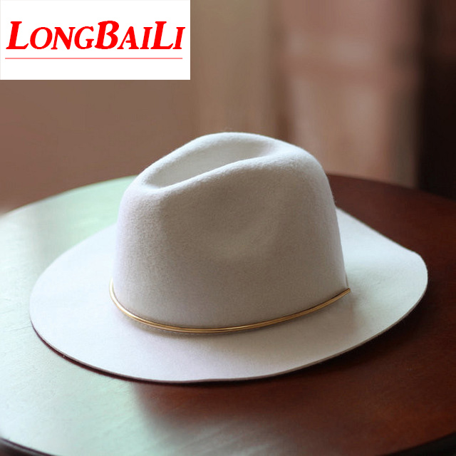 Fashion Winter White Wide Brim Wool Felt Fedora Hats Female Chapeu Feminino  Free Shipping PWSX011 ba1a525e2ca