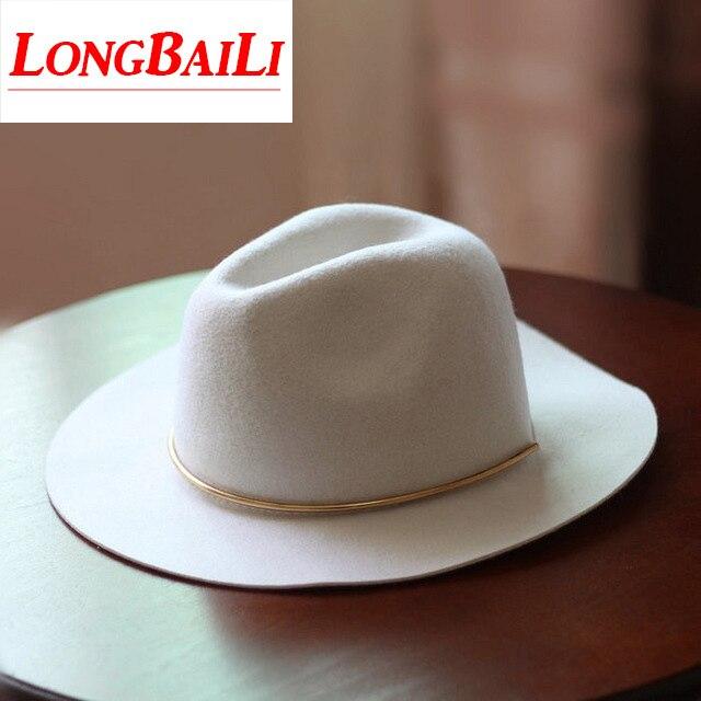 44cc195bc1d Fashion Winter White Wide Brim Wool Felt Fedora Hats Female Chapeu Feminino  Free Shipping PWSX011