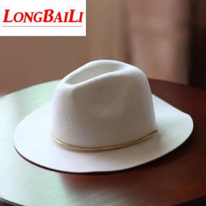 ddb8f49893885 LongBaiLi Winter Wide Brim Wool Felt Fedora Hats Female