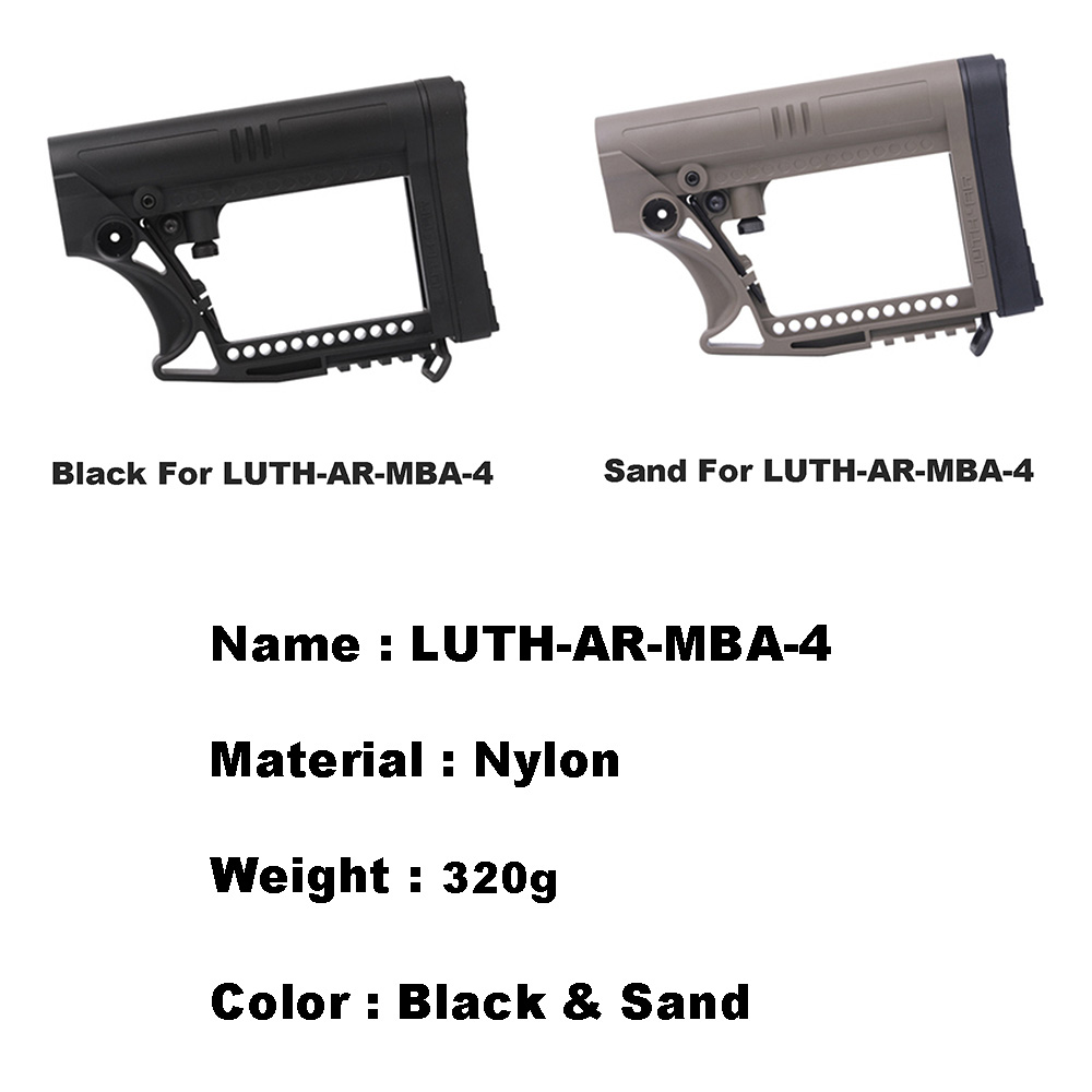 LUTH MBA-4 Nylon CARBINE ButtStock For Airsoft Air Guns Paintball Accessories Tactical CS Sports JinMing9 M4 AK Gearbox Stock