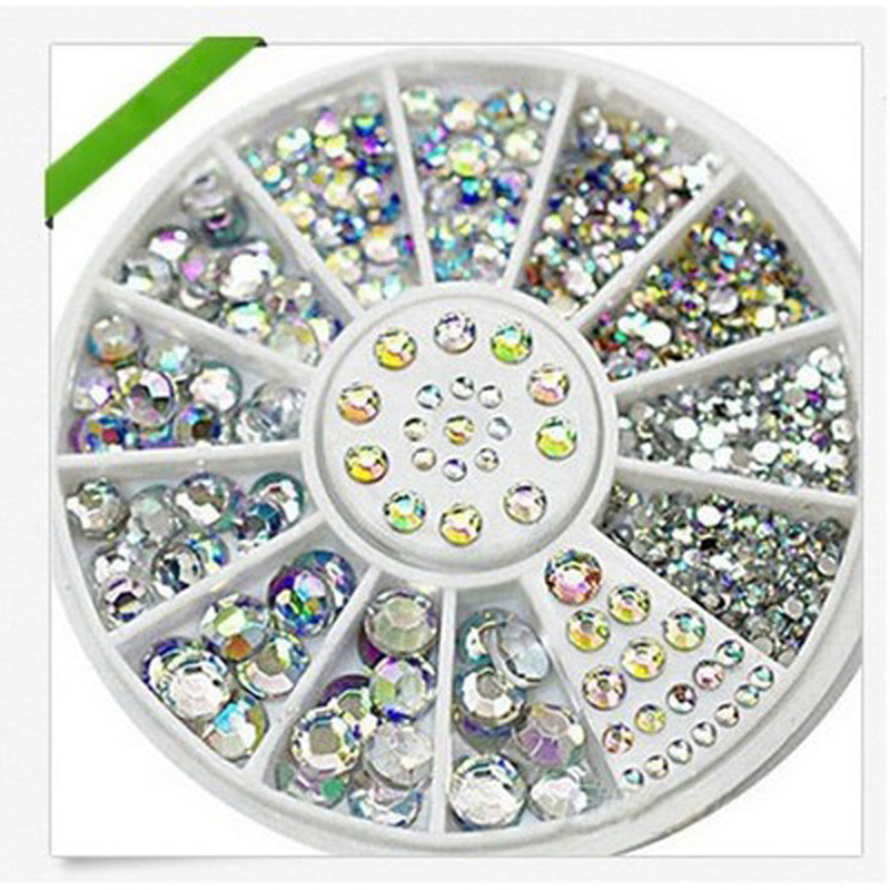 1Box Nail Art Tips Crystal Glitter Rhinestone For Nails Design Wheel Charms 3D Nail Art Decorations Supplies Nails Accessoires 12 colors 3mm waterdrop rhinestone nail art salon stickers tips diy decorations with wheel chic design 5gpn