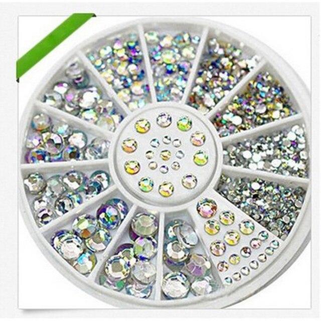 1Box Nail Art Tips Crystal Glitter Rhinestone for Nails Design Wheel Charms  3D Nail Art Decorations 5b1d44334ace