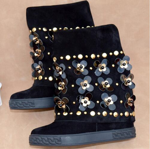 Nova Moda Floral Embelezado Cravejado Ankle Boots de Camurça Preto Botas de Cunha Altura Increaing Mulheres Botas de Inverno - 4