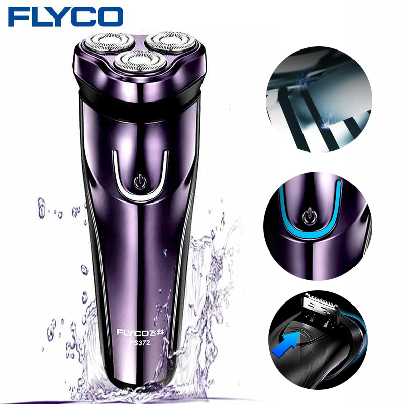 FLyco 100-240V Rechargeable Electric Shaver 3D Triple Floating Blade Heads Shaving Razors Face Care Men Beard Trimmer Machine электробритва flyco 3d fs370fs372