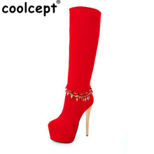 CooLcept Livraison gratuite longues bottes femmes neige d'hiver de mode démarrage à chaud chaussures de chaussures à talons hauts P10265 EUR taille 34-39