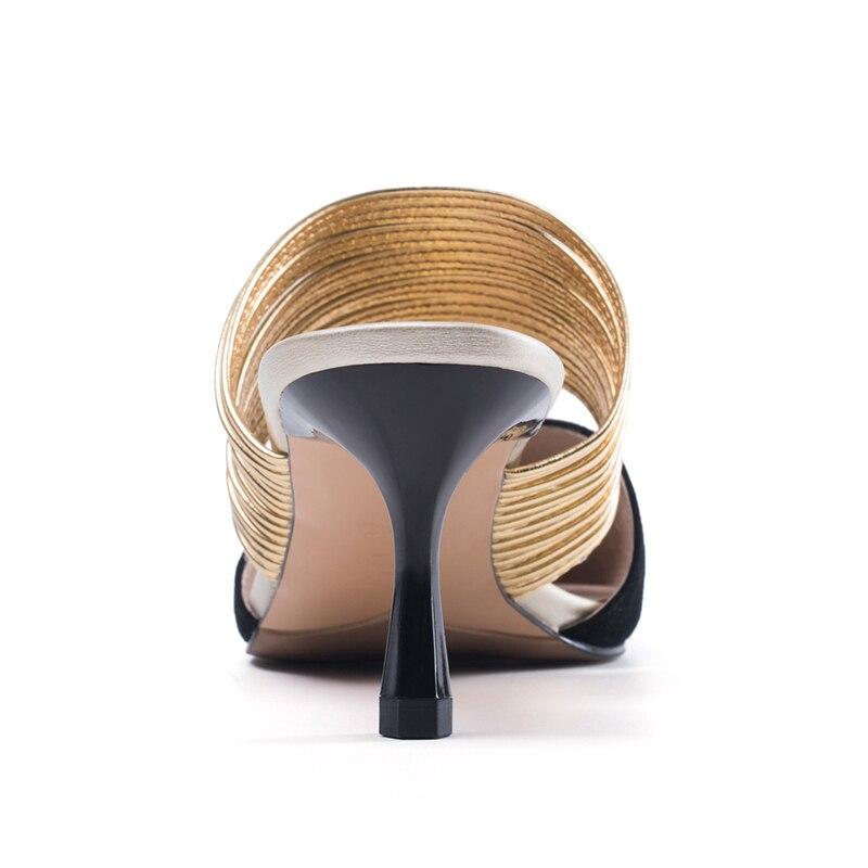 Mince Suede Univers Or amp; Extérieur Chaussures H133 2018 D'été Kid Haute Pu Pantoufles Dames Talons Ruban Femme q54Rxzq