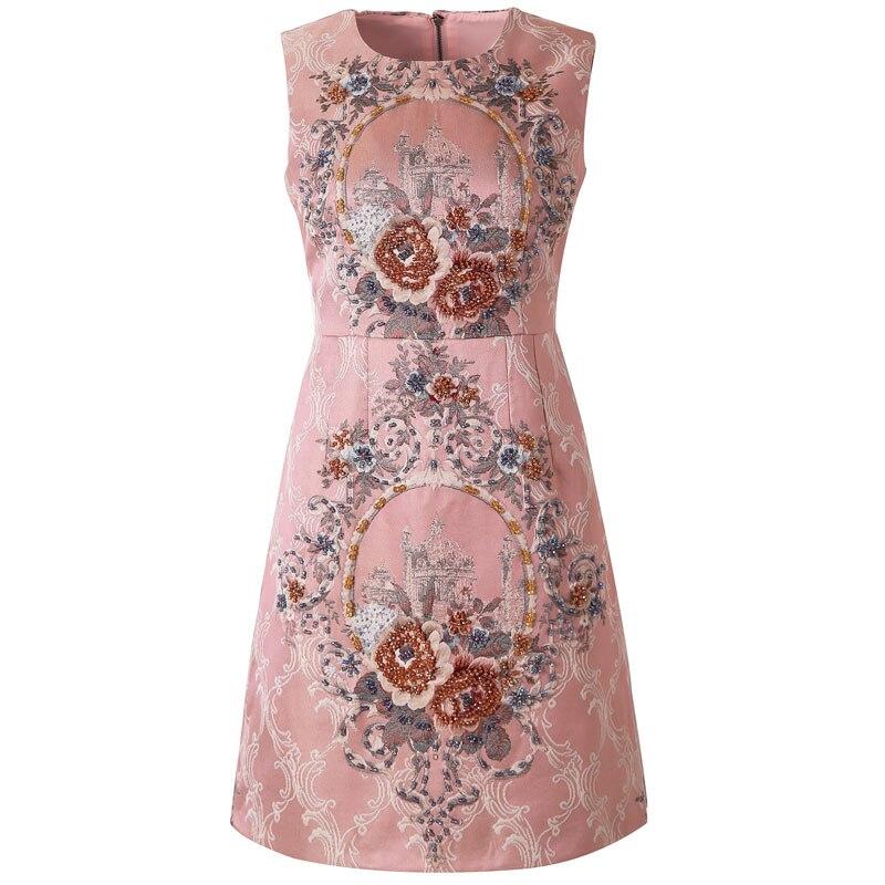 Red RoosaRosee 2019 Designer Summer Women Gothic Style Red Crystals Women Vest Jacquard Dresses Vestidos Robe