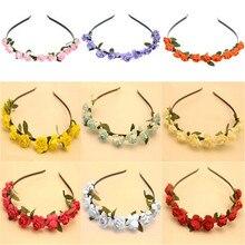 купить 7 Colors Women Fashion Stylish Garland Floral Bridal Headband Hairband Wedding Flower Hair Band  Hair Accessories For Gift дешево