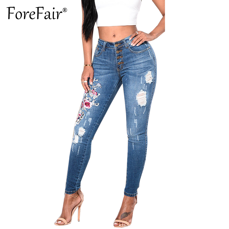 Forefair Fashion Stretchy Embroidered Hole Ripped Jeans S-3XL Women Cool Denim Pencil Pants 2017 Vintage Casual Button Jeans silla de director plegable de madera con bolsas para maquillaje pelicula studio hw46460