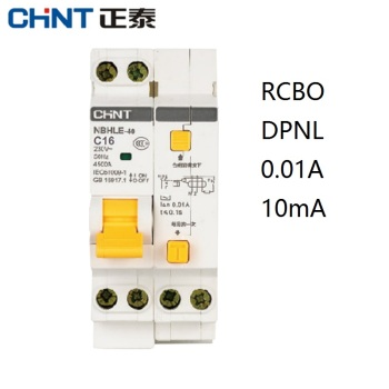 CHINT NBHLE-40 16A 20A 32A 40A 10MA 0.01A RCBO 1P+N 230V Residual current Circuit breaker with over current Leakage protection