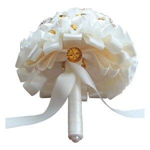 Image 3 - WifeLai A 1 шт. Золотая Хрустальная брошь цвета слоновой кости кремовый розовый свадебный букет Свадебный букет Жемчужный Цветок бук PL002