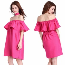 New fashion women's spring clothing collar lotus flanging a word shoulder sexy sexy women's nightclub dress C839