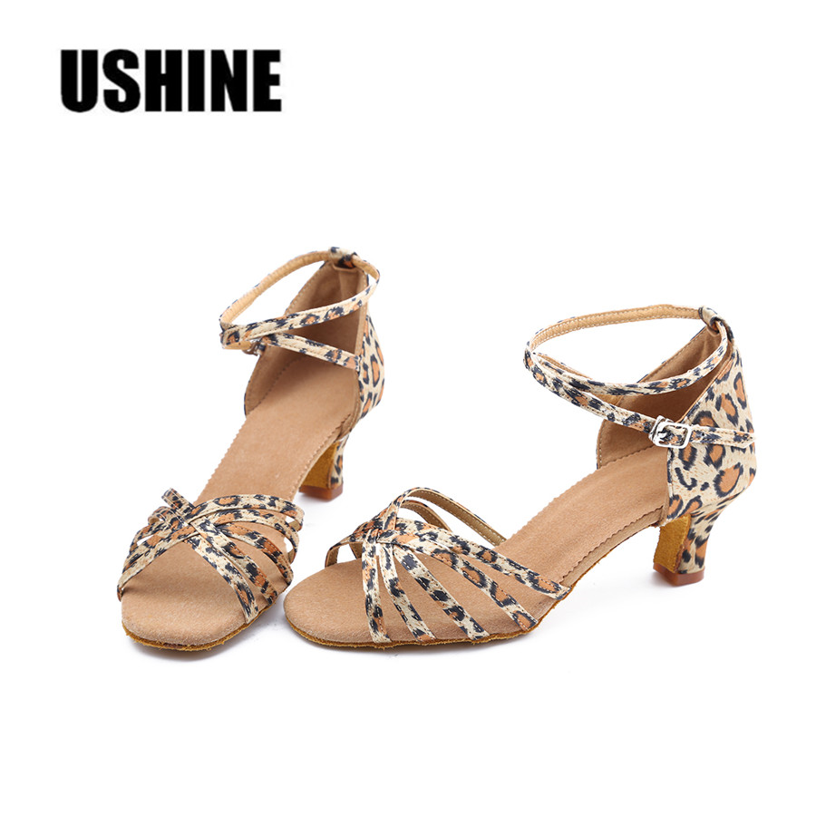 Brown Black Leopard Beige Latin Dance Shoes Woman Ballroom Zapatos Salsa Mujer Zapatos De Baile Latino Mujer Free Shipping