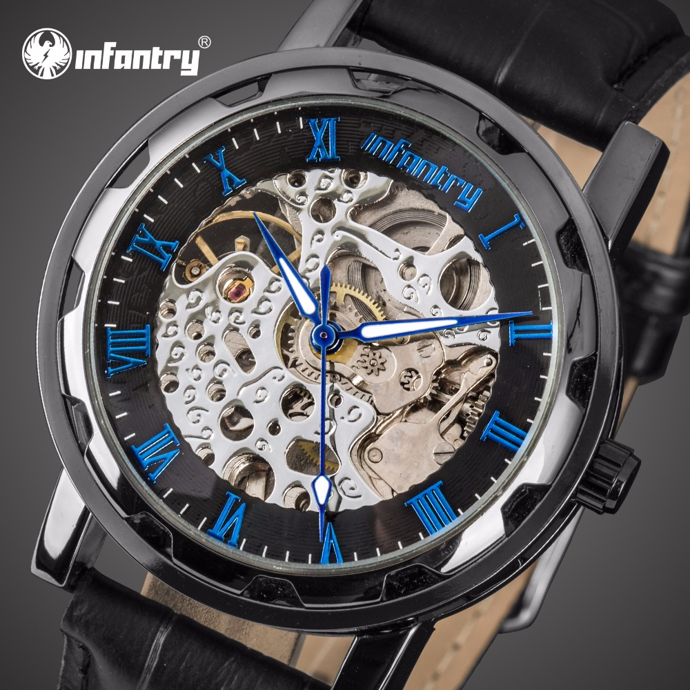 INFANTRY Mens Watches Top Brand Luxury Mechanical Skeleton Watch Men Steampunk Watch for Men Hand Wind Antique Relogio Masculino creative watch men luxury classic new men classic transparent steampunk skeleton mechanical leather watch relogio masculino 2522