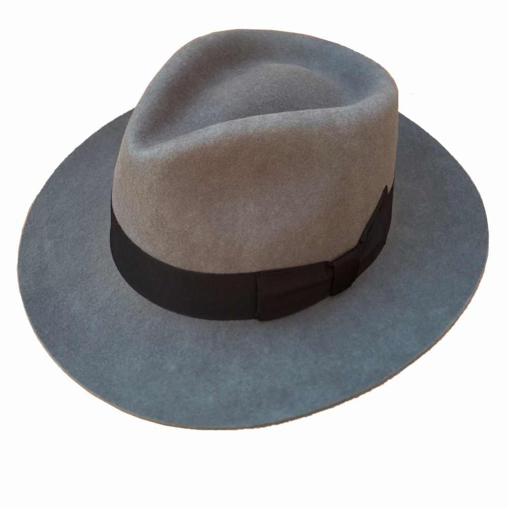 f28f0b1da9079 Classic Grey Men s Wool Felt Godfather Fedora Gangster Mobster Hat