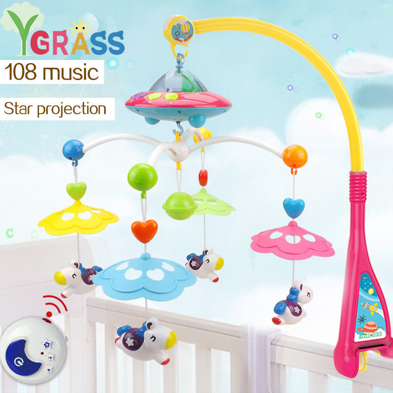Baby Toys 0 12 Months Crib Mobile Musical Remote Bed Bell With Animal Rattles Projection Cartoon Educational Kids Toy