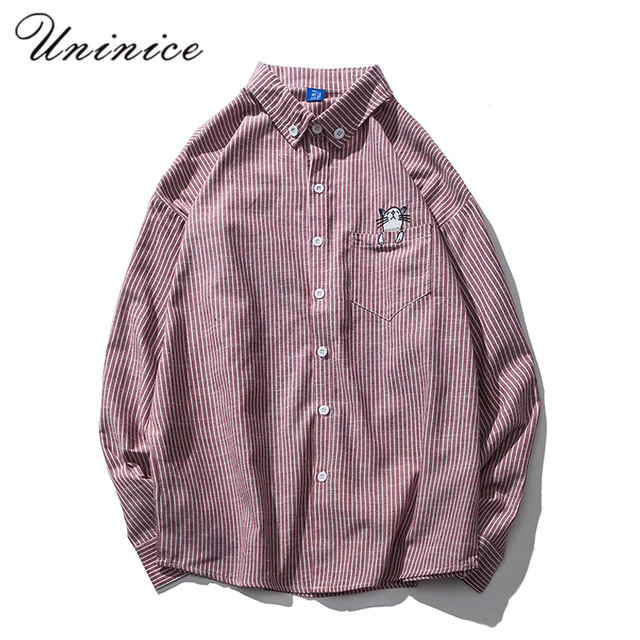 11a01be29 2017 Autumn Personalized Cat Embroidered Striped Shirts Men's Long Sleeve  Pocket Cat Shirt Spring Male Funny Teenager Shirts Top
