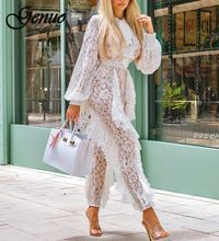 Genuo New Elegant Ruffle Sheer Lace Bandage Jumpsuit Women Rompers Autumn Sexy See-through Long Sleeve Casual Party Bodysuit