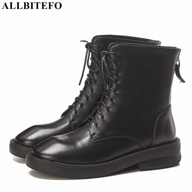 Allbitefo 천연 정품 가죽 여성 부츠 가을 겨울 패션 발목 부츠 고품질 motocycle 부츠 편안한-에서앵클 부츠부터 신발 의  그룹 1