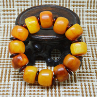 Pure Natural Yellow Amber Bracelet Hand Carved Jewelry Gift Wholesale