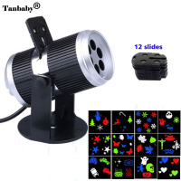Tanbaby Halloween Christmas LED Magic Projector Light Decorations 12 Slides Films LED Projection Show Lamp Indoor
