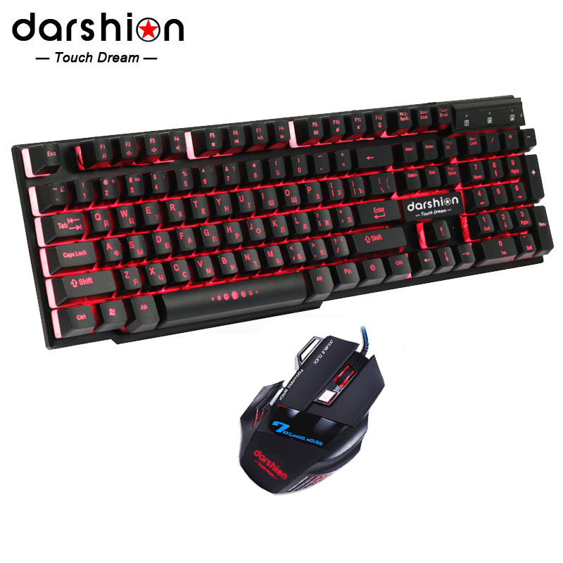 Russische Regenbogen Backlit Tastatur Maus Combo Bunte + Optische Mäuse USB Wired Backlit Gaming Mouse Atem Licht 3200 dpi