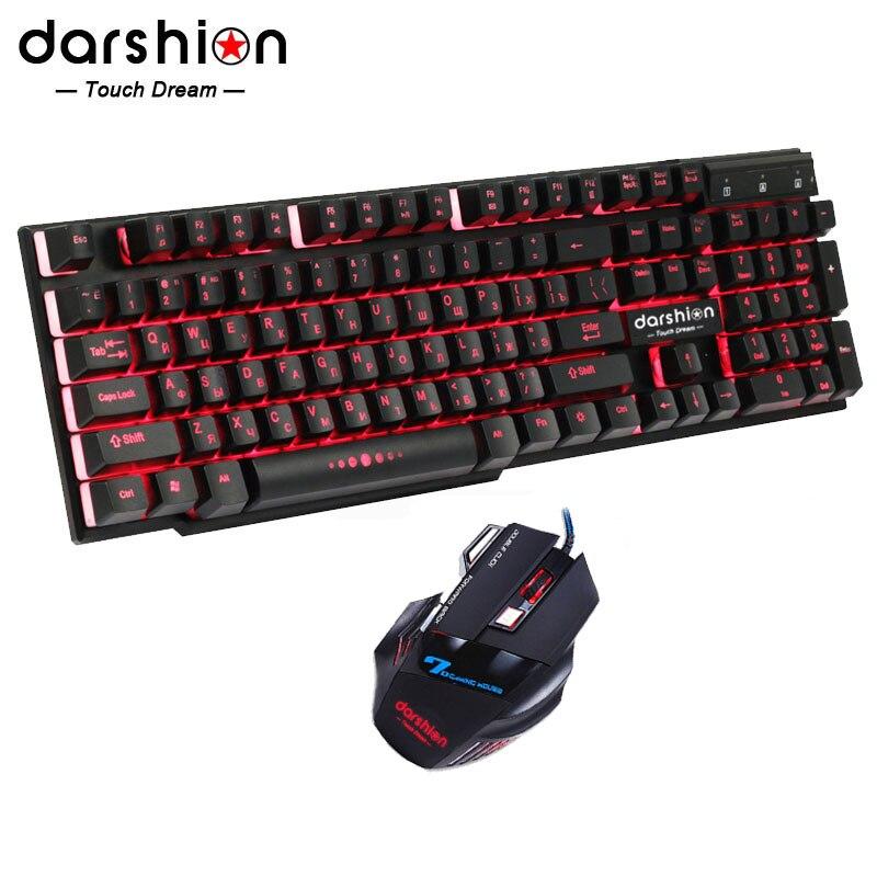 Russo Arcobaleno Retroilluminato Tastiera Mouse Combo Colorful + Mouse Ottico USB Wired Retroilluminata Gaming Luce Respirazione Del Mouse 3200 dpi