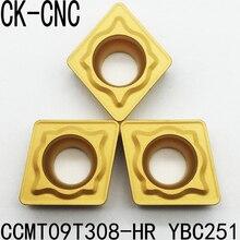 10pcs CCMT09T308 HR YBC251 CCMT09T308 HR YBC351 cnc latheCCMT09T308 utensili di tornitura inserto in metallo duro per la lavorazione di Acciaio Inox