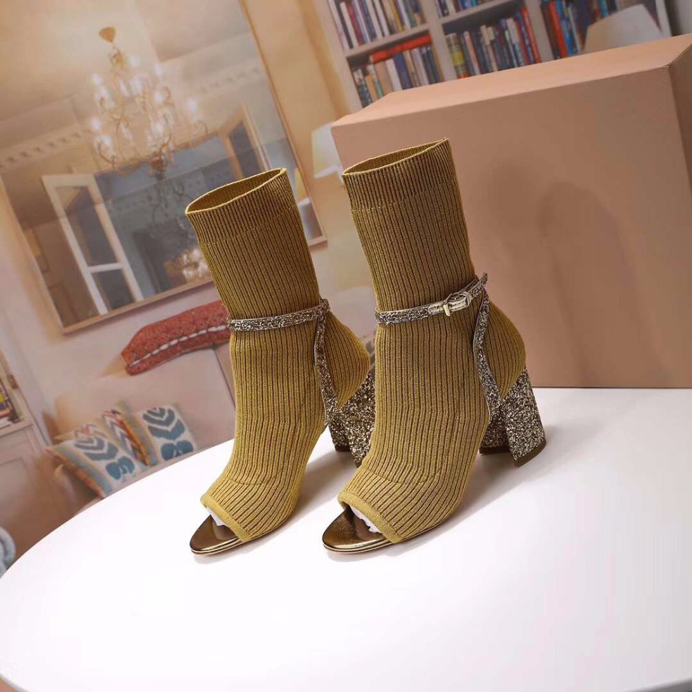 Hot 2018 Sock Boots Women High Heels Chic Shoes Women Brand Designer Peep Toe Bling Sequined Cloth Decor Buckle Shoes Female luxury brand shoes women peep toe