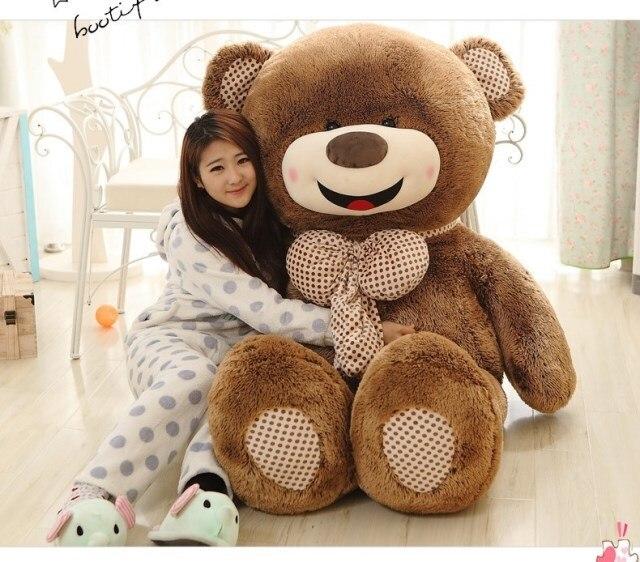 Grand 150 cm joyeux sourire visage brun ours en peluche avec nœud papillon en peluche oreiller cadeau de saint valentin, cadeau d'anniversaire w5467