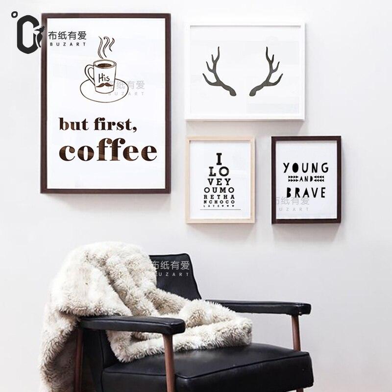Home Decor Posters: Aliexpress.com : Buy But First Coffee Deer Art Print