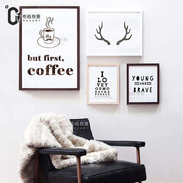 But First Coffee Deer Art Print Typography Posters Canvas Pictures For Living Room Home Decor No