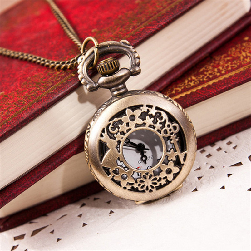 Novel Design Hot Fashion Vintage Retro Bronze Quartz Pocket Watch Pendant Chain Necklace  May27 vintage cartoon camera shape sweater chain pocket watch pendant necklace korean style hot
