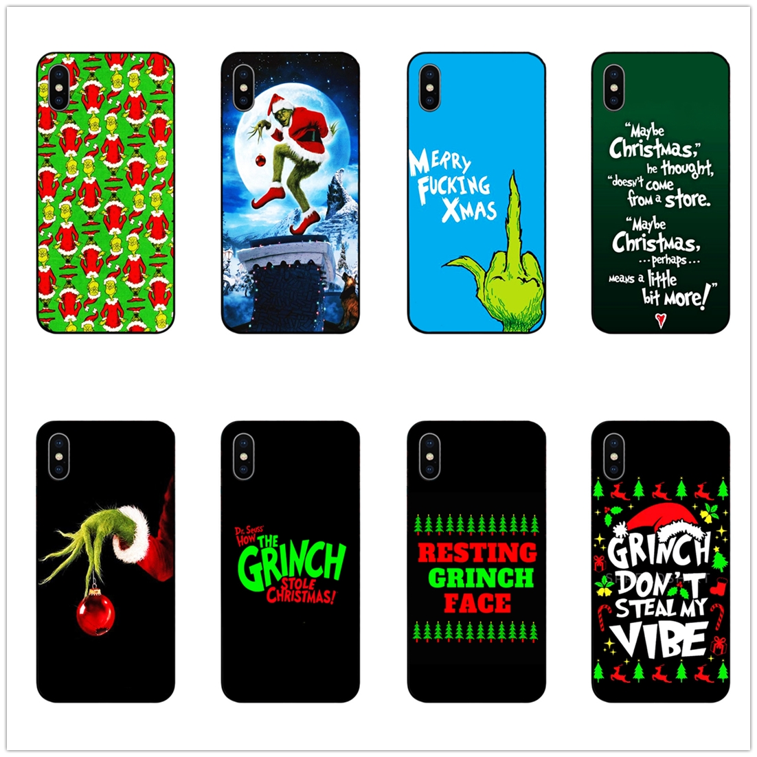Christmas Grinch Xmas funny phone case black soft cover for Samsung s8 s9plus S6 S7Edge for iPhone 6 6s 7 8plus 5 X XS XR XSMax in Half wrapped Cases from Cellphones Telecommunications