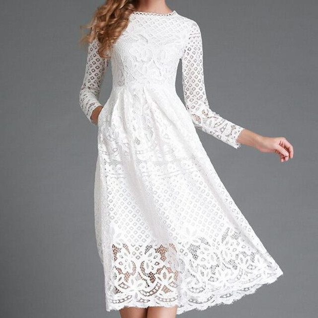 new spring white lace midi dress women long sleeve Black dress ...