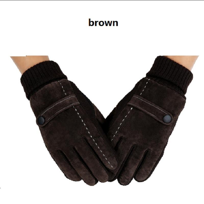 Winter Men's Warm Gloves Natural Suede Leather Gloves