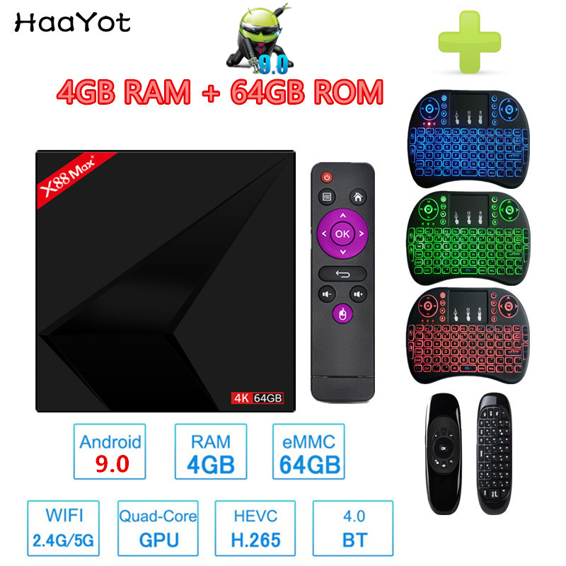 HAAYOT Android 9.0 X88 MAX+ Smart TV Box 4G 64G RK3328 Quad Core 4K BT4.0 2.4G/5G WiFi Set Top Box Type c USB 3.0 Media Player-in Set-top Boxes from Consumer Electronics    1